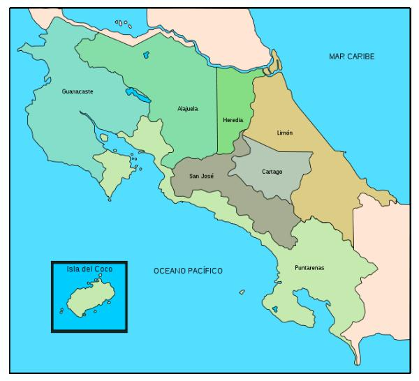 Republic Of Costa Rica Quiz Questions - Costa rica regions map